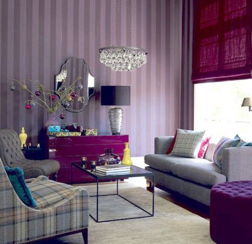 2012 White Purple Living Room Decor