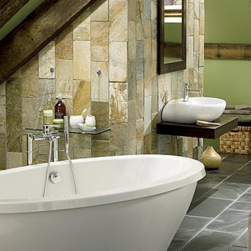 Bathroom With Natural wall stone ideas