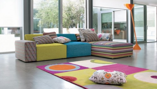 Colorful Living Room Ceramic Floor Designs