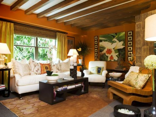Colorful Tropical Living Room Ideas