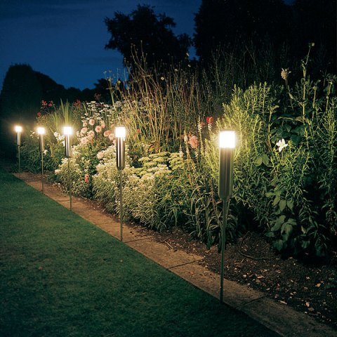 Excellent Garden Concept with Garden Lights at Night