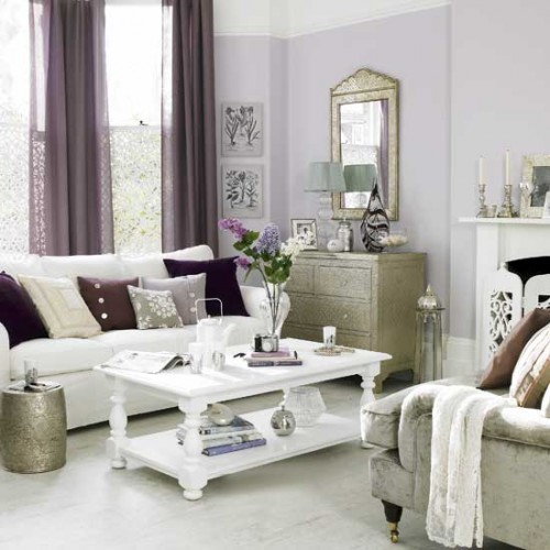 Excellent Purple Living Room Design on 2012 Trends