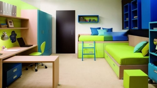 Excellent Twins Children Bedroom Interior Art