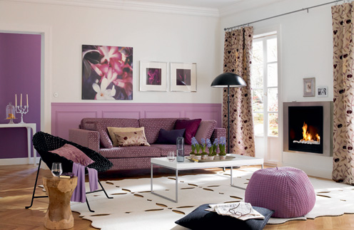 Excellent White Purple Living Room Architecture