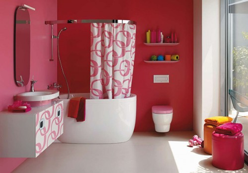 Great Bathroom Designs with Red Wallpaper Art