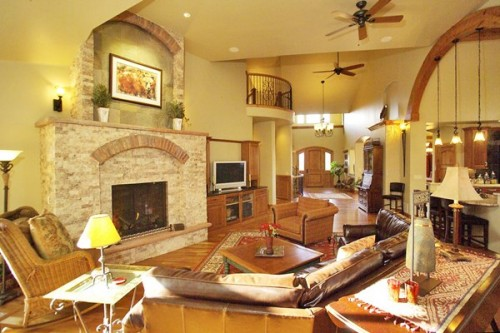 Great Yellow Brown Family Room Art Design