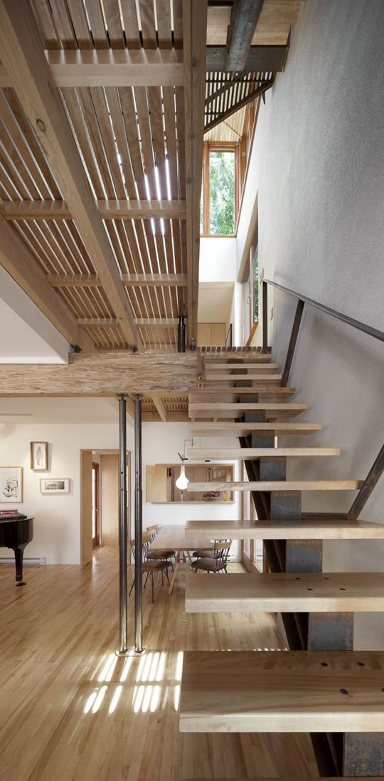 Minimalist Modern Wood Stairs Home Art