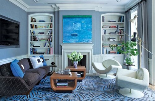 Minimalist Victorian Blue Family Room Ideas