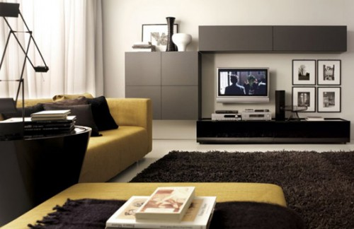 Modern Living Room with LCD TV Design Ideas