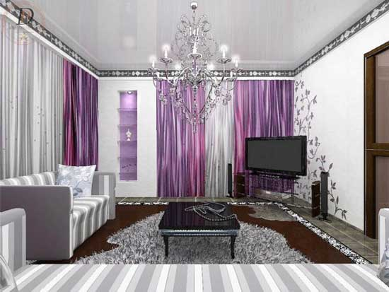 Over Here Modern White Purple Living Room Design On 2017