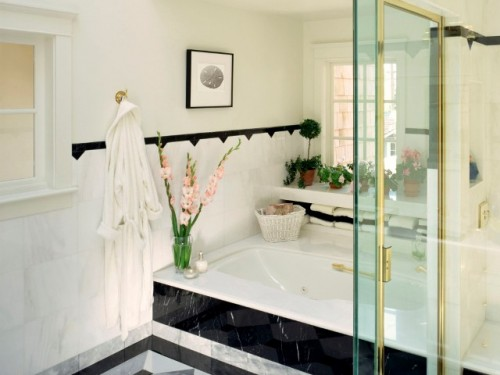 Natural Bathroom Designs with Vas of Plant