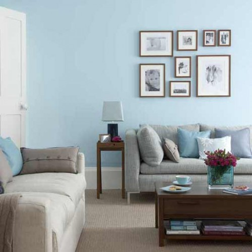 New Blue Living Room with Gray Sofa