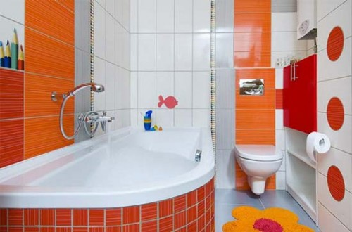 New Children Bathroom Orange Designs Wallpaper