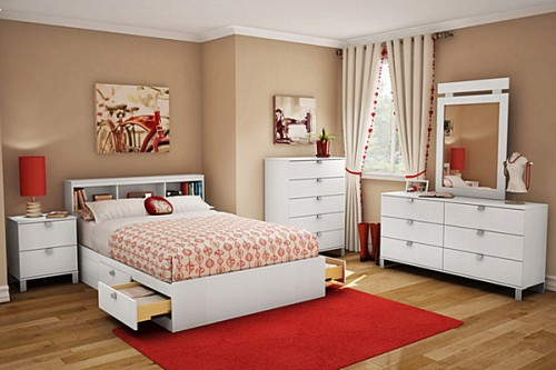 Nice Red Teen Bedroom Design Art