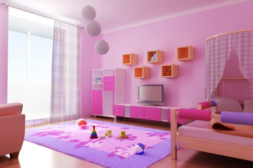 Pink Children Room Design Art