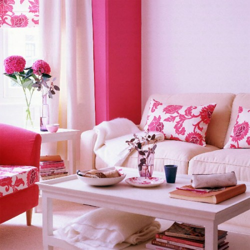 Pink Flower in Living Room Design