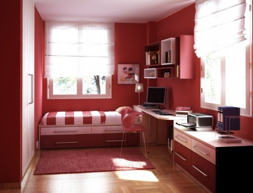 Wall With Pink Color Teen Bedroom Decorating Idea
