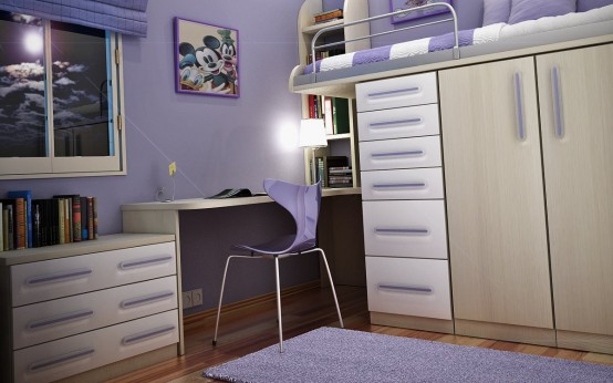 Wall With Purple COlor Teen Bedroom Decorating Ideas